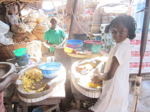 Dantokpa Market –Grinding Ginger