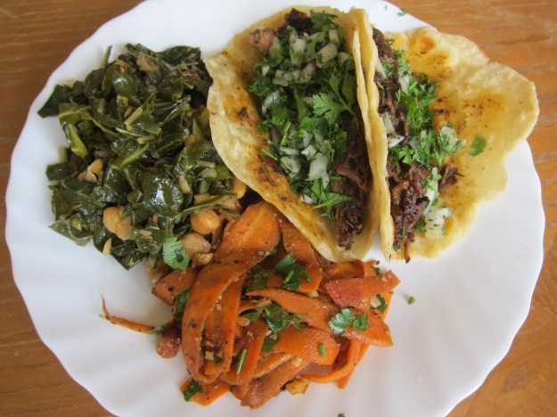 The carrot salad went great with carnitas tacos and braised greens with chickpeas.