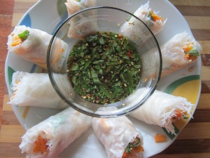With basil dipping sauce