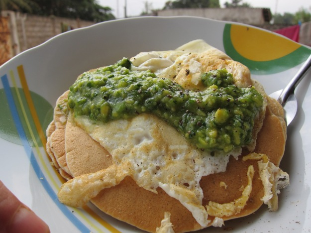 Pancakes with Avocado Sauce